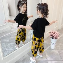 suit Other / other Black, yellow 110cm,120cm,130cm,140cm,150cm,160cm female summer Korean version Short sleeve + pants 2 pieces Thin money There are models in the real shooting Socket nothing other blending children Expression of love Class B Chinese Mainland Shanghai