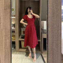 Dress Summer 2021 gules S,M,L,XL Mid length dress singleton  Short sleeve commute square neck High waist Solid color zipper A-line skirt Wrap sleeves Others Type A Retro