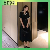 Dress Summer 2021 black XS,S,M,L,XL longuette singleton  Short sleeve commute V-neck High waist Solid color zipper A-line skirt Flying sleeve Others Type A Retro Stitching, color contrast