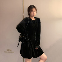 Dress Autumn 2020 black S,M,L,XL Short skirt singleton  Long sleeves commute Crew neck High waist Solid color Socket A-line skirt puff sleeve Others Type A Retro Bow, tie, tie