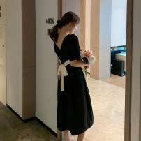 Dress Summer 2020 black S,M,L,XL Mid length dress singleton  Short sleeve commute Crew neck High waist Solid color zipper A-line skirt puff sleeve Others Type X Retro Bow tie, open back, lace, bandage
