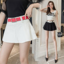 skirt Summer 2021 S,M,L,XL Black, white Short skirt commute High waist Ruffle Skirt Solid color Type A 18-24 years old 71% (inclusive) - 80% (inclusive) other Lotus leaf edge Korean version