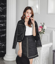 Fashion suit Autumn 2020 XS,S,M,L,XL Black, white 18-25 years old Other / other 71% (inclusive) - 80% (inclusive) polyester fiber