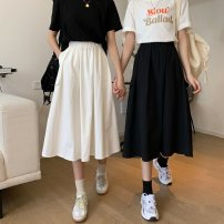 skirt Summer 2020 S,M,L White, black Mid length dress Sweet High waist A-line skirt Solid color Type A Under 17 71% (inclusive) - 80% (inclusive) Other / other polyester fiber solar system