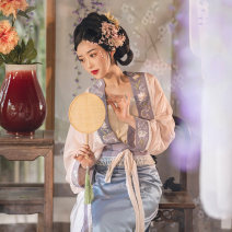Hanfu 96% and above Summer 2020 Improved song wipe in stock, aircraft sleeve cardigan in stock, two-piece skirt in stock, confirm the receipt of goods back freight S. M, l, average size polyester fiber