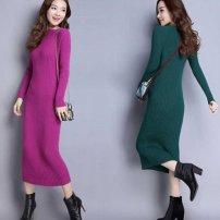 Dress Summer 2020 singleton  Crew neck Loose waist Solid color Socket Other / other 3D knitting