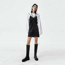 Dress Winter 2020 Black and white Average size Short skirt Long sleeves street Crew neck High waist Solid color Socket A-line skirt routine 25-29 years old Type A showroom plus Splicing C206DRS044 More than 95% cotton Cotton 100% Europe and America