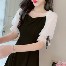 Dress Summer 2021 black S,M,L,XL Middle-skirt singleton  Short sleeve commute square neck High waist Solid color Socket A-line skirt routine Others 18-24 years old Type A Korean version 81% (inclusive) - 90% (inclusive)
