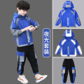 suit Pinbalabala Blue, gray, yellow, 1, 2, 3 170cm,160cm,150cm,140cm,130cm,120cm male spring and autumn leisure time Long sleeve + pants 2 pieces routine There are models in the real shooting Zipper shirt No detachable cap Solid color other children Expression of love A0142-1 other Other 100%