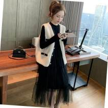 Dress Spring 2021 White vest black dress S,M,L,XL longuette Two piece set Long sleeves commute Crew neck High waist Solid color Socket Cake skirt routine Others 25-29 years old Type A Other Korean version Pleats, stitches, buttons BC82EC070 More than 95% other polyester fiber