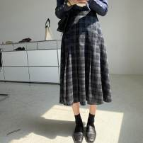 skirt Winter 2020 M,L,S Navy Blue Middle-skirt A-line skirt Other / other