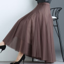 skirt Autumn of 2019 Mid length dress commute High waist Pleated skirt Solid color Type A 91% (inclusive) - 95% (inclusive) other polyester fiber Mesh splicing Korean version Other polyester 95% 5% Pure e-commerce (online only) 401g / m ^ 2 (inclusive) - 500g / m ^ 2 (inclusive)