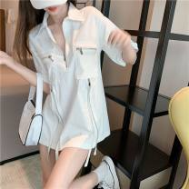 Women's large Summer 2021 Black, white, sling white Large L, large XL, s, m, 2XL T-shirt singleton  commute easy thin Socket Short sleeve Solid color Korean version Polo collar Medium length other Collage routine 25-29 years old zipper 96% and above Short skirt other Hollowing out zipper