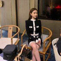 Women's large Winter 2020, autumn 2020 black S = 1, M = 2, large L = 3, large XL = 4 Dress singleton  commute Socket Long sleeves Solid color Korean version Crew neck cotton routine pocket 81% (inclusive) - 90% (inclusive) Middle-skirt
