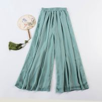 Casual pants Light gray, white, black, turquoise M 93cm is suitable for height below 165, l 98cm is suitable for height above 165 Autumn of 2018 trousers Wide leg pants Natural waist commute routine Other / other Simplicity