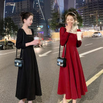 Dress Spring 2021 Black red S M L XL longuette singleton  Long sleeves commute square neck High waist Solid color Socket A-line skirt routine Others 25-29 years old Type X Korean version Splicing More than 95% Chiffon polyester fiber Polyester 100% Pure e-commerce (online only)