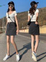 skirt Summer of 2019 XS,S,M,L,XL,XXL Smoke grey (without lining), black (without lining), smoke grey (with lining), black (with lining), white (with lining), light blue (with lining), medium blue (with lining), smoke grey irregular (with lining), black irregular (with lining) Short skirt Versatile