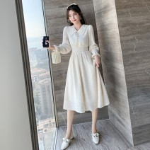 Dress Spring 2021 Apricot S,M,L,XL Mid length dress singleton  Long sleeves commute tailored collar High waist lattice Single breasted A-line skirt pagoda sleeve Breast wrapping 25-29 years old Type A Simplicity Splicing, three-dimensional decoration, nail beads A2938 Chiffon polyester fiber