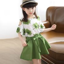 suit Other / other 10, 11, 12, 4, 5, 6, 7, 8, 9 summer female Short sleeve + skirt Thin 2 pieces leisure time Solid color cotton Condom nothing Class B There are models in the real shot Other 100% children Expression of love