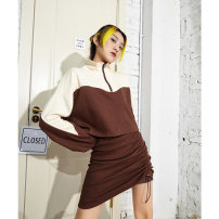 Fashion suit Spring 2021 S M Apricot top and coffee skirt 18-25 years old APEA C650-SKZ1596 Cotton 95% other 5%