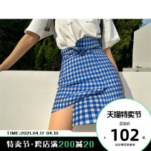 skirt Spring 2020 S M L Blue green Short skirt fresh High waist Irregular lattice Type A 18-24 years old 3858-SK900L 91% (inclusive) - 95% (inclusive) APEA polyester fiber Other polyester 95% 5%