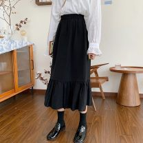 skirt Autumn of 2019 Average size black Mid length dress commute High waist Splicing style Solid color Type A 18-24 years old 30% and below other Korean version