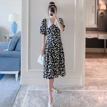 Dress Other / other black M,L,XL,XXL Korean version Short sleeve Medium length summer Decor Chiffon ZF1458-5