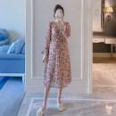 Dress Other / other Pink M,L,XL,XXL Korean version Short sleeve Medium length summer V-neck Decor Chiffon ZF1588-5
