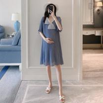 Dress Other / other blue M,L,XL,XXL Korean version Short sleeve Medium length summer V-neck Solid color ZF1458-1