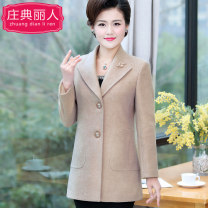 Middle aged and old women's wear Spring 2020 Beige D-11 purple C-90 bean green C-90 purple 1703 green 1703 L [recommended 95-105 kg] XL [recommended 105-120 kg] 2XL [recommended 120-130 kg] 3XL [recommended 130-145 kg] 4XL [recommended 145-155 kg] fashion woolen coat Self cultivation singleton  other