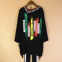 T-shirt Classic V-neck tassel, slant collar and vertical letter circle Average size Spring of 2019 Long sleeves V-neck easy Medium length Bat sleeve street cotton 71% (inclusive) - 85% (inclusive) originality letter Printing, fringes, beading Sports & Leisure