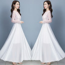 Dress Autumn 2020 White powder, red and black S 80-90 kg, m 90-102 kg, l 102-110 kg, XL 110-120 kg, 2XL 120-130 kg, 3XL 130-140 kg, 4XL 140-150 kg longuette singleton  Long sleeves commute Crew neck High waist Solid color zipper Big swing routine Others 25-29 years old Type A Other / other Chiffon