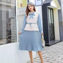 Dress Autumn of 2019 Light pink greyish green blue S M L Mid length dress Two piece set Long sleeves commute Half high collar High waist Solid color Socket Pleated skirt shirt sleeve 18-24 years old Type A BA Shangfen Ol style A0916A2 30% and below other Flax 20% others 80%