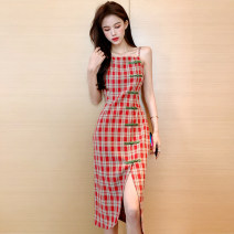 Dress Spring 2020 Orange and blue S M L XL Mid length dress singleton  Sleeveless commute High waist lattice Irregular skirt camisole 25-29 years old Type H Ryukura Korean version backless More than 95% other Other 100% Pure e-commerce (online only)