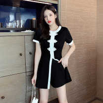 Dress Summer 2021 black S M L XL 2XL Short skirt Two piece set Short sleeve commute Crew neck High waist Solid color zipper A-line skirt routine 25-29 years old Type A Ryukura Retro Stitched zipper with snap split F87028 More than 95% other Other 100% Pure e-commerce (online only)