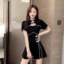 Dress Summer 2020 S M L XL 2XL Short skirt Two piece set Short sleeve commute stand collar High waist Solid color zipper A-line skirt routine Others 25-29 years old Retro More than 95% polyester fiber Polyester 95% polyurethane elastic fiber (spandex) 5% Pure e-commerce (online only)
