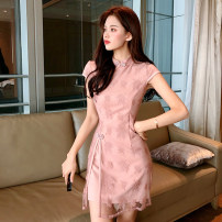 Dress Spring 2020 Black Pink XL S M L Short skirt singleton  commute stand collar High waist Solid color A-line skirt 25-29 years old Type A Ryukura Korean version More than 95% Lace polyester fiber Polyester 100% Pure e-commerce (online only)