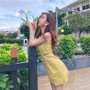 Women's large Summer 2021 yellow S M L XL singleton  commute Sleeveless Korean version Crew neck puff sleeve Yinhong 18-24 years old Short skirt Other 100% Pure e-commerce (online only) Princess Dress