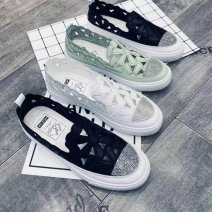 Low top shoes 35,36,37,38,39,40 Other / other Black, white, green other PVC chemical fiber Internal elevation Flat heel (1cm or less) Shallow mouth Two layer pigskin Spring 2020 T-strap  Hollowing out
