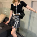 skirt Summer 2021 S,M,L Charcoal grey Short skirt commute High waist A-line skirt Solid color Type A 18-24 years old 90231Q0580 51% (inclusive) - 70% (inclusive) Other / other Korean version