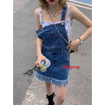 Dress Spring 2021 blue S,M,L Short skirt singleton  Sleeveless commute square neck Loose waist Solid color Socket A-line skirt other straps 18-24 years old Type H Other / other Korean version 90232L0673 51% (inclusive) - 70% (inclusive) Denim cotton