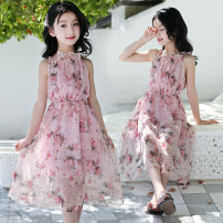 Dress Summer 2021 Pink The recommended height is 110cm for Size 120, 120cm for Size 130, 130cm for size 140, 140cm for size 150 and 150cm for size 160 longuette singleton  Sleeveless Sweet Lotus leaf collar Elastic waist Broken flowers Socket Princess Dress camisole Under 17 Type A Frenulum other