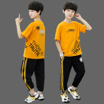 suit Bad little treasure White, orange, fluorescent green 120cm,130cm,140cm,150cm,160cm,170cm male summer leisure time Short sleeve + pants 2 pieces Thin money There are models in the real shooting Socket nothing Cartoon animation cotton children Expression of love Qt2009 ice silk suit Class B