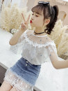 suit Bad little treasure White top + denim skirt, pink top + denim skirt 110cm,120cm,130cm,140cm,150cm,160cm,170cm female summer Korean version Short sleeve + skirt 2 pieces Thin money There are models in the real shooting Socket cotton children Learning reward llMQ800029 Class B Other 100%