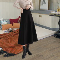 skirt Winter 2020 S,M,L,XL,XXL Black autumn and winter, rose red autumn and winter, black summer longuette commute High waist A-line skirt Solid color Type A 25-29 years old Other / other pocket Korean version 401g / m ^ 2 (inclusive) - 500g / m ^ 2 (inclusive)