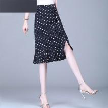 skirt Summer 2020 Black dots longuette commute High waist Irregular Dot Type A Chiffon Other / other polyester fiber Korean version