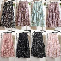 skirt Summer 2020 Average size longuette Versatile High waist Cake skirt Decor Type A G38236 Chiffon Other / other