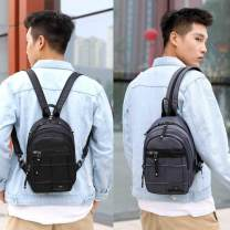 Men's bag The single shoulder bag Nylon  Other / other brand new leisure time Street trend zipper soft Mini yes Solid color Yes Double root youth Sewing Soft handle Inner patch pocket 10 inches One shoulder slanting across two shoulders
