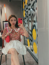 Lace / Chiffon Spring 2020 Short sleeve Floral Top - spot lace embroidered skirt - spot short sleeve Floral Top - pre-sale 12 days lace embroidered skirt - pre-sale 12 days S M L Short sleeve commute Socket Two piece set easy Regular square neck other routine 18-24 years old Mrs. Qian QFC20040710