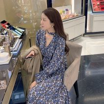 Dress Spring 2021 Mid length dress singleton  Long sleeves commute V-neck Broken flowers A-line skirt pagoda sleeve Others Type A Other / other Retro Print, bandage More than 95% Chiffon polyester fiber